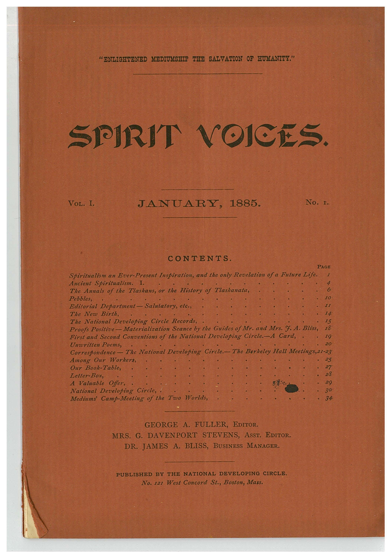 Peters The Spiritualist Tradition Spiritvoices January