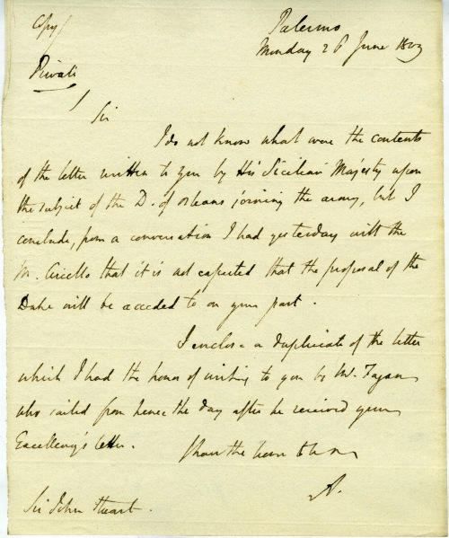Letter from William Pitt Amherst to Sir John Stuart, 26 June 1809.
