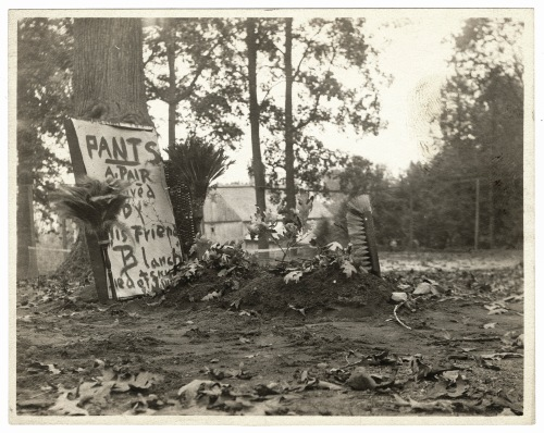 "An impromptu gravestone for one, A. Pair Pants, from October 25, 1906. The text at the bottom reads, ""died of skunk juice."""