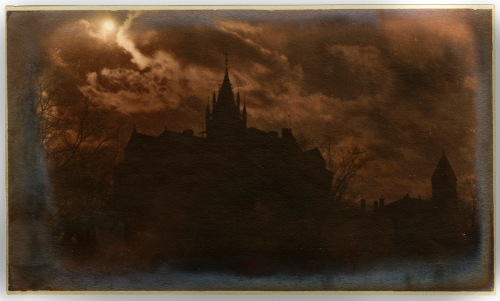 Walker Hall by moonlight, November 24, 1906. This image was toned a reddish color.