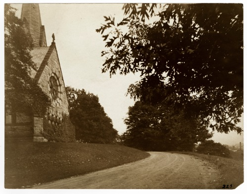 View of the rear of Stearns Church, September 1907. All that remains of the church is Stearns Steeple by the Mead Art Museum.