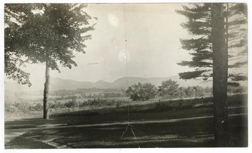 The view south to the Holyoke Range from Pratt Gymnasium (now Charles Pratt Dormitory), June 20, 1908
