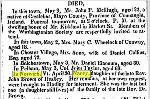 Nancy Brown died on April 30, 1842. Requiescant in pace.