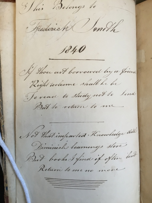 ownership inscription of Frederick Smith 1840