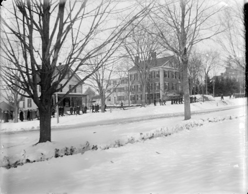 Students on their way to the Amherst train station to see Doc Hitchcock off, January 25, 1898