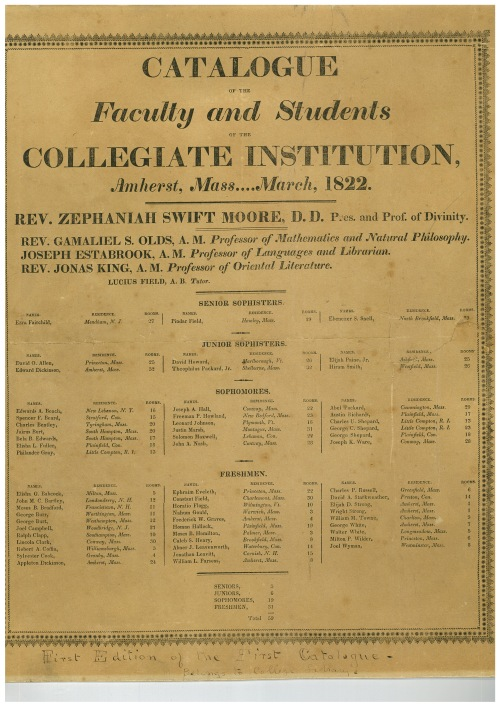 First catalogue broadside of the Collegiate Institution, 1822 Mar in Amherst College Early History Collection (Box OS-1, Folder 9)