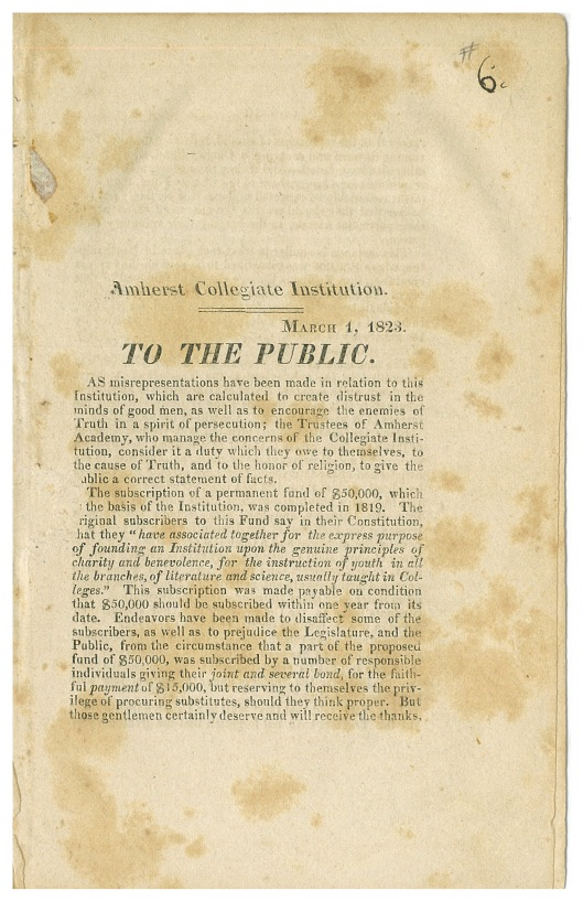 """To the public"" pamphlet in Amherst College Early History Collection (Box 3, folder 7)"