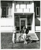 Social dorms- students outside Davis B&G b19 f15