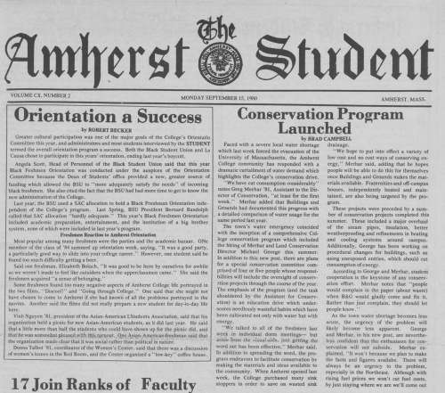 The Amherst Student Sept 15, 1980