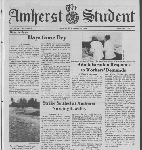 The Amherst Student, Sept. 29, 1980