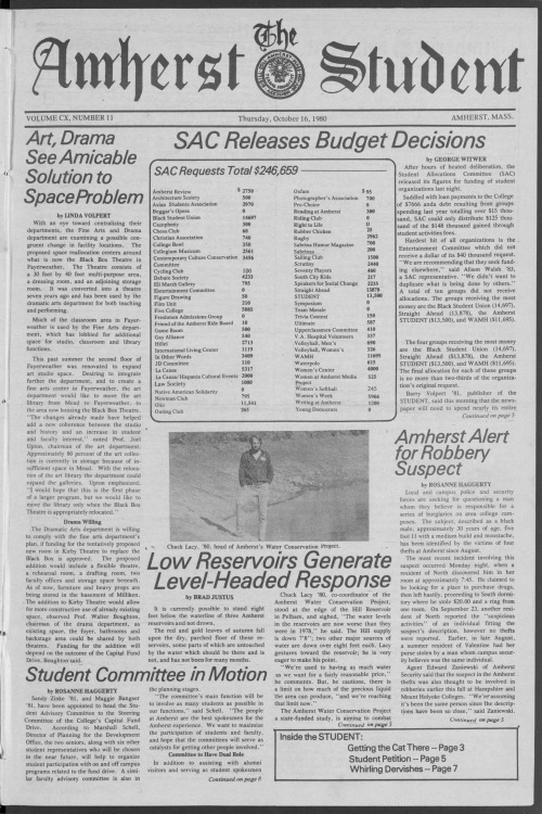 The Amherst Student, Oct. 16, 1980