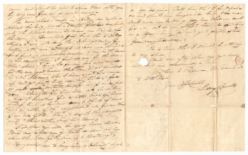 Sidney Brooks letter to his sister Tamesin Brooks, October 18, 1837