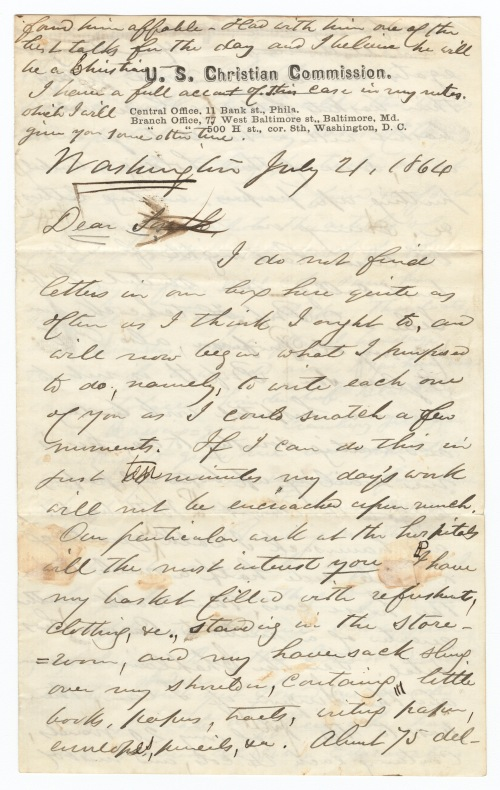 Sidney Brooks letter to his sister Sarah, July 21, 1864