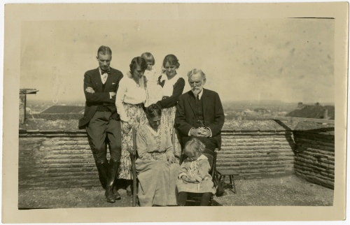 The Chambers-Seelye clan in Adana, Turkey, about 1922. Back row: Laurens H. Seelye (AC 1911); Kate Chambers Seelye; Dorothea Chambers holding her niece Dorothea Seelye; William Nesbitt Chambers. Seated: Cornelia Williams Chambers and her granddaughter Mary-Averett Seelye.
