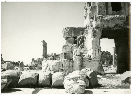 Mary-Averett Seelye, posed among ruins, around 1984.