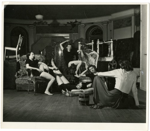 Walsh Mansion dance class with Theatre Lobby performers.  Mary Goldwater lying in center. Mary-Averett Seelye with back to camera.  Photograph by Gretchen Van Tassel.