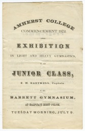"Cover of the program for an ""exhibition in light and heavy gymnastics"" held in Barrett Gymnasium on July 9, 1872"