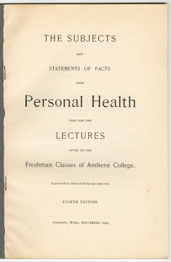 Title page of the syllabus for hygiene courses at Amherst, 1905
