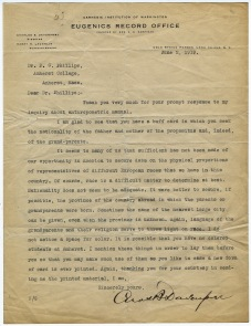 Letter from Charles Davenport from the Eugenics Record Office of the Carnegie Institution to Professor Paul Phillips, June 2, 1919