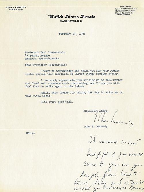 JFK to Loewenstein 1957