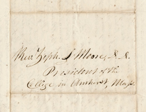 Letter to Zephaniah S. Moore, first president of Amherst College.