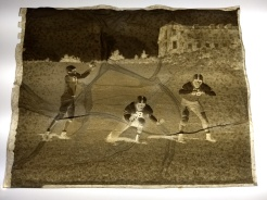 A negative of Amherst College football players from the 1940s