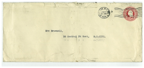 Viola Roseboro to Gertrude Hall Brownell envelope