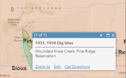 A map of Wounded Knee Creek on the Lakota Pine Ridge Reservation, with the label