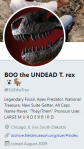 BOO the UNDEAD T. rex @SUEtheTrex. Portrait shows the T. rex's large open mouth and many sharp teeth. Profile text-Legendary Fossil. Apex Predator. National Treasure. New Suite Getter. All Caps Name Haver. They Them Pronoun User. LARGE MURDERBIRD. Chicago, IL (via South Dakota).