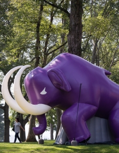 A giant inflatable purple mammoth looms over the quadrangle as new students and their parents walk by.