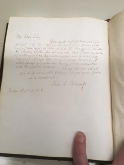 Inscription to Thomas Boss