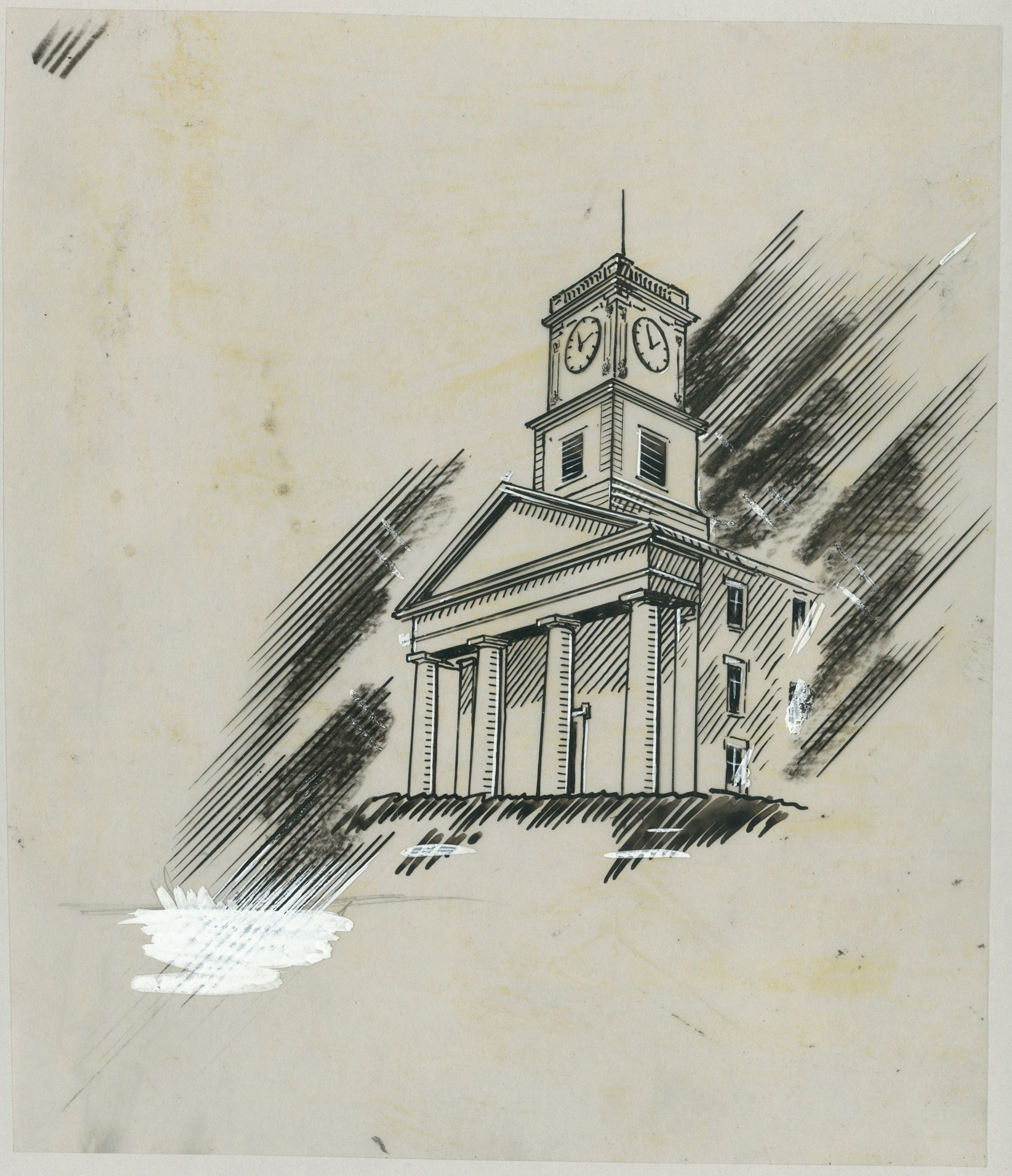 A chapel building with four columns and a square clock tower. Diagonal lines shade the background.