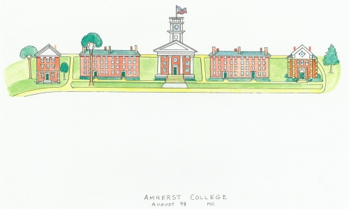 Five brick buildings stand in a row along a grassy expanse. The central chapel has four columns and square clock tower. Like the chapel, the two end buildings have their narrow front facing, while buildings two and four stand lengthwise.