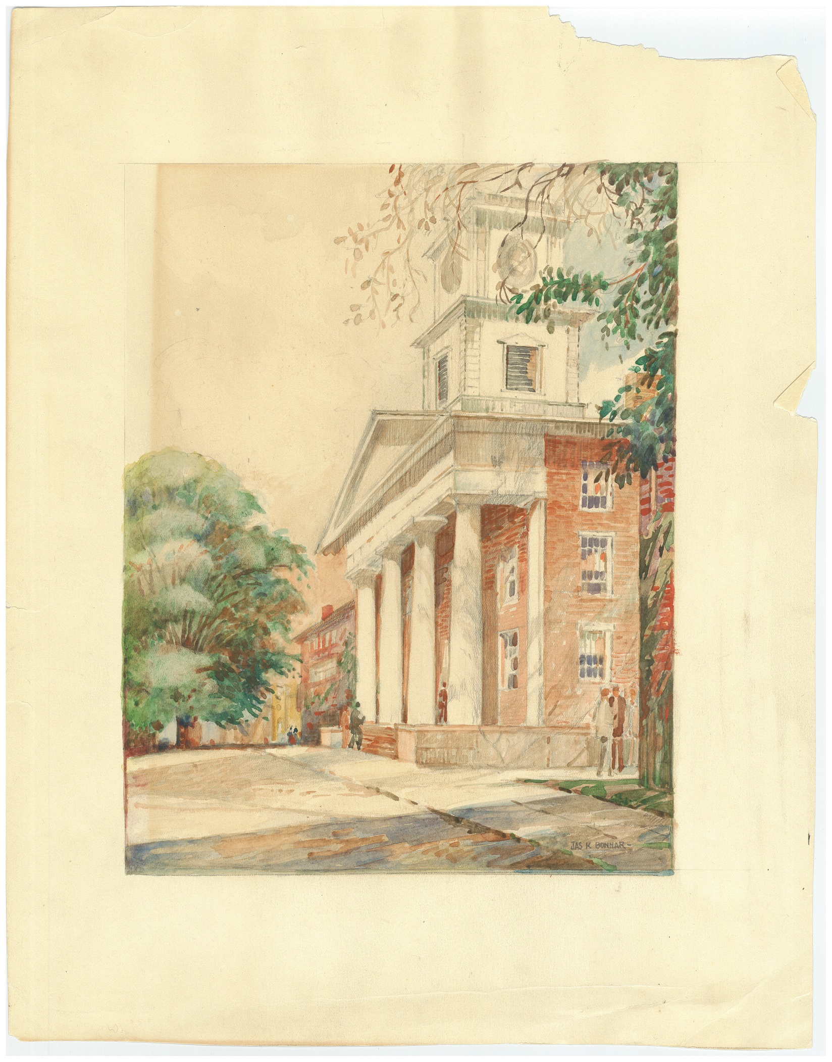 College students, wearing suits, wander among the large columns and stairway leading into the brick chapel building. The walkway is shaded by unseen trees.
