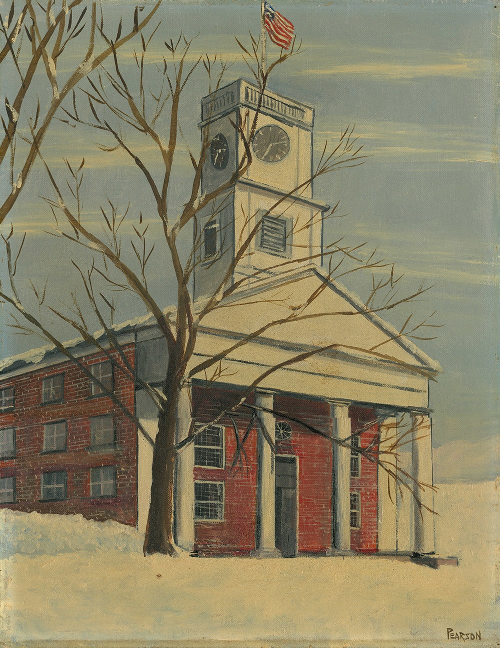 A tall square clock tower tops a brick chapel building with four plain columns. The ground is covered in snow and trees are bare.
