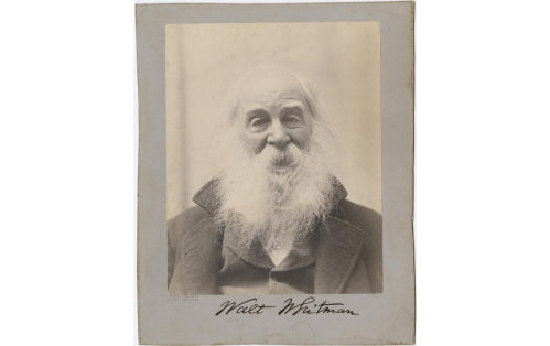 A head-and-shoulders portrait of Walt Whitman facing front by photographer George C. Cox, mounted on gray paper. Whitman's signature is on the mount beneath the portrait.