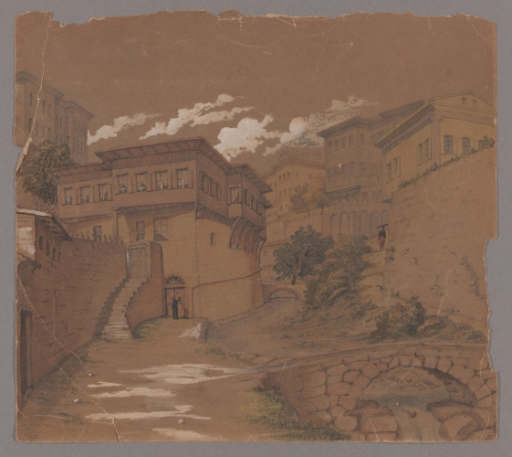 Henry J. Van Lennep watercolor sketch of a Constantinople street.