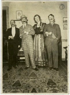 "A faculty group at President King's ""Gay 90s"" party in 1935."